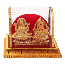 International Gift Gold Plated Lord Ganesh & Maa Lakshmi Acrylic Idol/Hindu God Ganpathi & Goddess Laxmi Pooja Mandir/Car Dashboard/Office Tabel $ IGSPBR101032