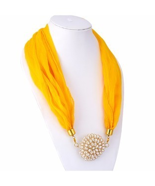 Sukkhi Shimmering Chiffon Detachable Scarf Necklace With Chain For Women