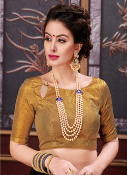 Manvi Fashion Golden Color Border Piping Work Broket in Fabric Party Wear Readymade Blouse $ MF 3098