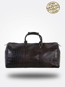 Strutt Unisex Dark Maroon Leather Croc Print Duffel Bag $ SMD156