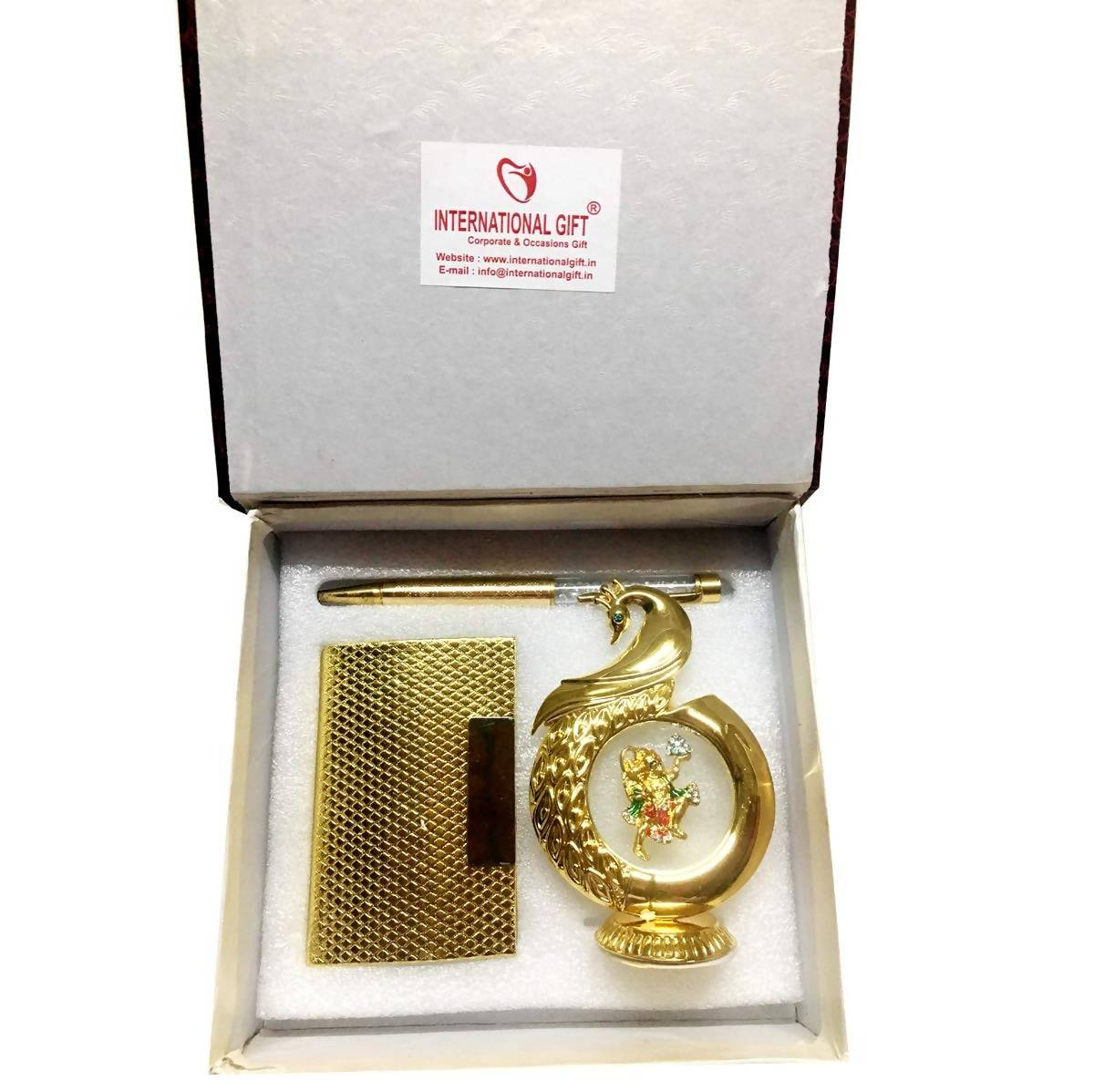 International Gift Gold Plated Pen and Visiting Card Holder