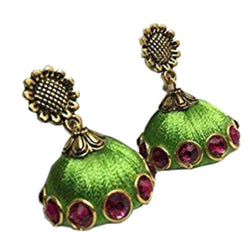 Ailsie Stylish Jhumka Earrings For Women Fashion Beautiful Sliver Antique Flower Design Silk Thread Earring - Green