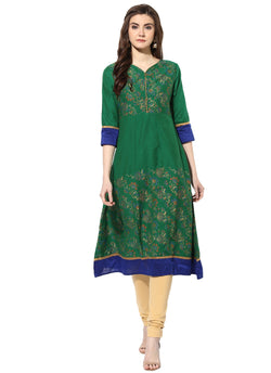 Mytri Women's Green Poly Cotton Printed Anarkali Kurta $ 9000488-GREEN
