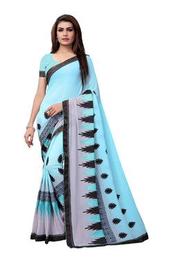 YOYO Fashion Embroidered Georgette Sky Blue Saree With Blouse $ YOYO-SARI2615-Sky Blue