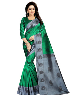 Muta Fashions Women's Unstitched Art Silk Green Saree $ MUTA1406
