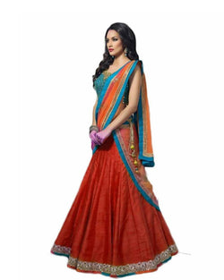 Muta Fashions Women's Semi Stitched Banglori Silk Red Lehenga $ LEHENGA33