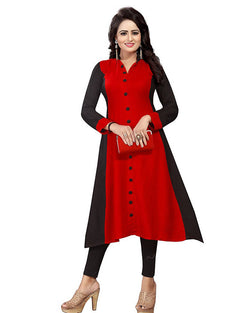 Muta Fashions Women's Semi Stitched Casual Crepe Red Kurti $ KURTI349