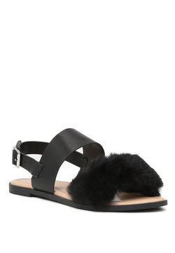 London Rag Women's Black Fur Double Strap Slingback Flat Sandals $ SH1572