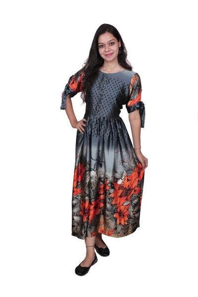 Libas Cotton Dress/Long Dress/Maxi Dress/Long Kurti Pure Muslin Fabric Long Kurti/Maxi Dress Gown 4 Metre Flair, 3/4 Sleeves with Stylish Knott Designs $ Libas-064
