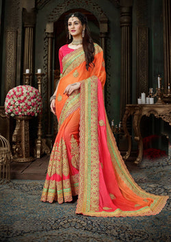Fashion Zonez Jari Embroidery with Multi Embroidery Lace Border Moss Chiffon Orange & Pink Designer Saree With Blouse $ FZ 1976