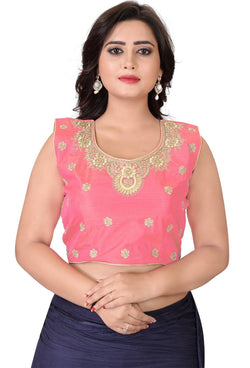 YOYO Fashion Light Pink Silk Embriodered Extra Sleeve With Blouse $ YOYO1-BL4004-Light Pink