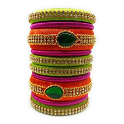 Ailsie Stylish Fashion Beautiful Silk Thread Bangle - 8 Peice Orange/Green