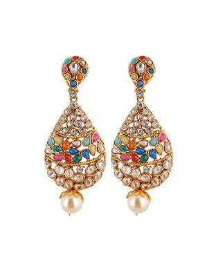 aradhya Beads, Pearl Alloy Drop Earring