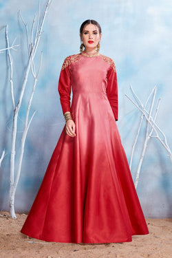 Manvi Fashion Women's Red Color MODAL SATIN-(PURE FEB) Fabric Embroidery & Stone Work Gown $ MF 2148