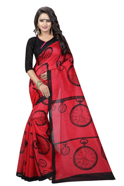 16TO60TRENDZ Red Color Printed Bhagalpuri Silk Saree $ SVT00498