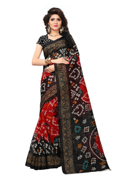 16TO60TRENDZ Black Color Printed Bhagalpuri Silk Saree $ SVT00438
