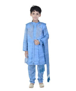 Soundarya Silk Cotton Blend Turquoise Embellished Sherwani and Churidar