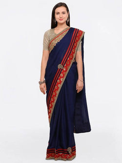 Umang NX Blue Georgette Designer Embroidery Sarees $ UN5692
