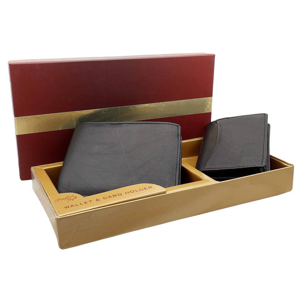 Baluchi's Black Leather Wallet and Cardholder Gift Box Combo for Men $ BLC_COM_2IN1_01