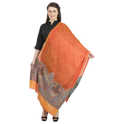 La Vastraa's Fancy Palla Strong Modal Silk Orange Stole for Women-TKS112