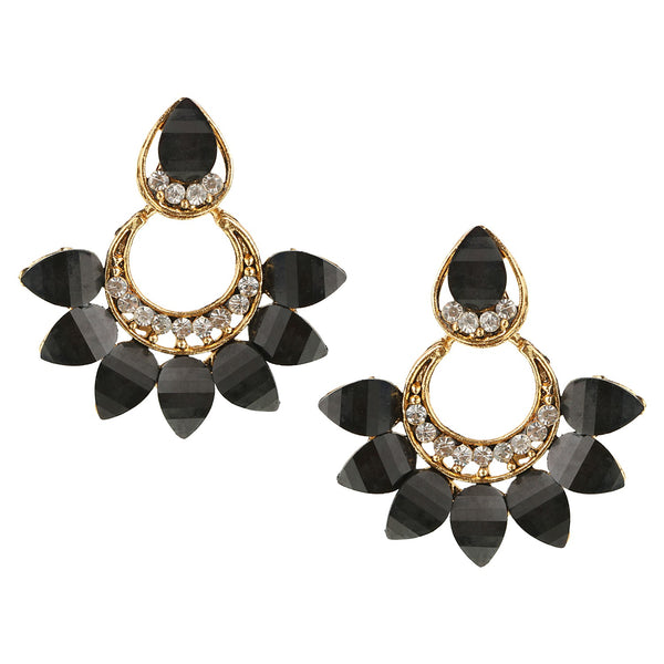 Parna Black Bloom Crystal Diamond Alloy Gold Plated Drop Earring $ EAR-211