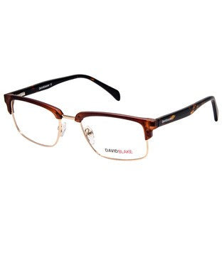 David Blake Brown Gold Rectangular Full Rim EyeFrame