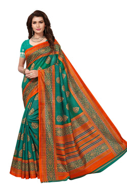 16TO60TRENDZ Green Color Printed Bhagalpuri Silk Saree $ SVT00488