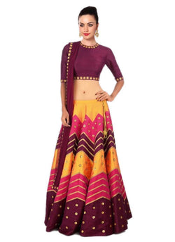 Muta Fashions Women's Semi Stitched Banglori Silk Orange Lehenga $ LEHENGA41