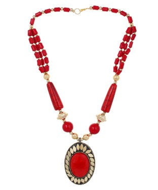 Aradhya Metal Jewel Set (Red, Gold)