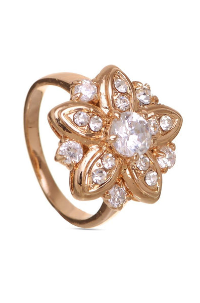 Bauble Burst Glitter Gold Floral Ring