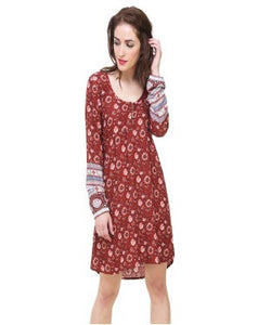 REDPOSE PRINTED HIGH-LOW BROWN BORDER DRESS