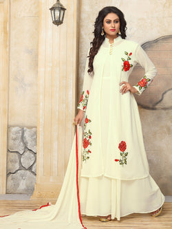 YOYO Fashion Designer Latest Faux Georgette Embroidred Indo-Western - F1140