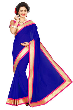 16to60trendz Blue Chanderi Lace Work Chanderi Saree $ SVT00072