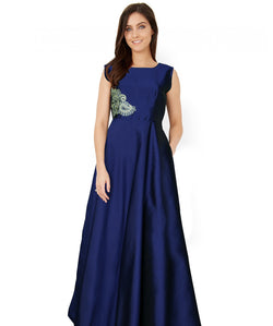 Fabricvilla New Gorgeous Taffeta Blue Long Anarkali style Gown