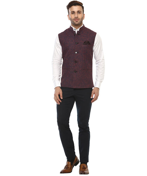Lee Marc Jute Red Linen Cross Nehru Jacket
