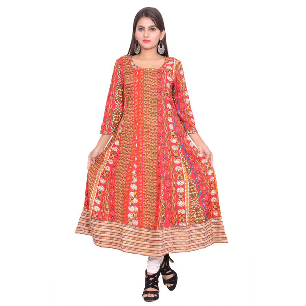 Chhapai 3/4 Sleeve Printed Red Anarkali Chanderi Kurti $ CK-1003