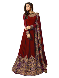 YOYO Fashion  Latest Fancy Semi-stitched Faux Georgette Embroidered Anarkali Salwar Suit $ F1220-Red