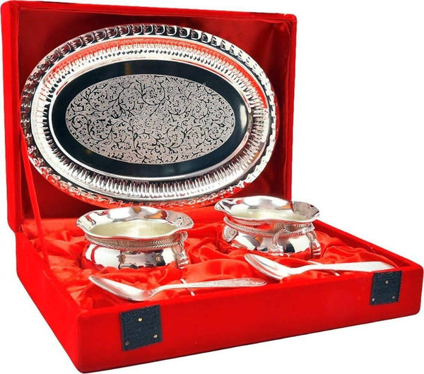 German Silver Bowl and Silver Plated Spoon and Silver Plated Tray with Beautiful Red Velvet Box Packing Exclusive Gift Items for Diwali Gift, Wedding Gift and Corporate Gift $ IGSPBR1011