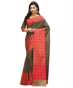 Laethnic Dark Olive Green Kora Saree