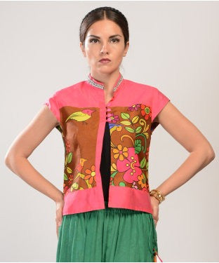 Pakhi By Preeti Tomar Pink And Multi Waist Coat