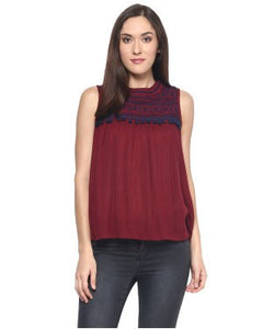 Miway Maroon Embroidery Top