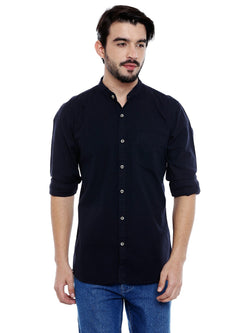 Roller Fashions Men's Solid Casual Navy Blue Shirt $ C3SWNY-P