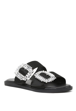 London Rag Women's Black Double Strap Flat Sandals $ SH1573