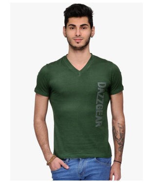 Dazzgear Men's Green V Neck MTV-55 T-Shirt