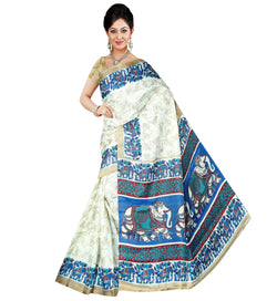 BL Enterprise Women's Bhagalpuri Cotton Silk Blue Color Saree With Blouse Piece $ BLLB-57