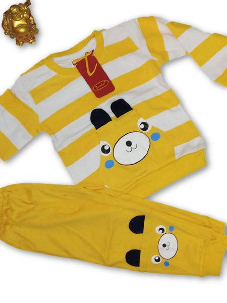 Cute Animal Printed Bear Twin Set Little Boy Girl Two Piece Set Tshirt & Pant for Baby Kids_Yellow $ CP-KA14