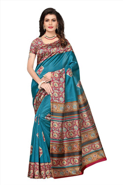 BL Enterprise Women's Bhagalpuri Cotton Silk Kalamkari Turquoise Color Saree With Blouse Piece $ BLLB-20