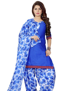 Minu Suits Blue Cotton Salwar Suits Sets Dress Material Freesize,Satinpatyala_6004