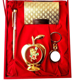 Gold Plated Ball Pen with Visiting Card Holder with Key Ring and Apple Shape Hanuman God Idol Car Dashboard and Home Temple with Velvet Box $ IGSPBR101045
