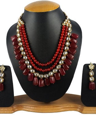 Aradhya Stone Jewel Set (Maroon, Gold)